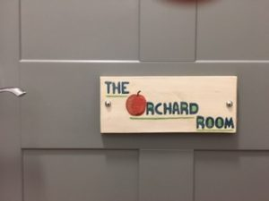 The Orchard Room sign